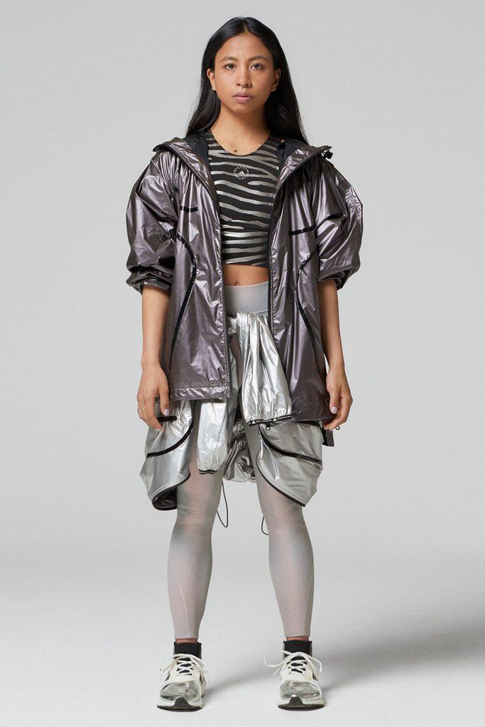 Print Crop Top - Black/Silver Metallic