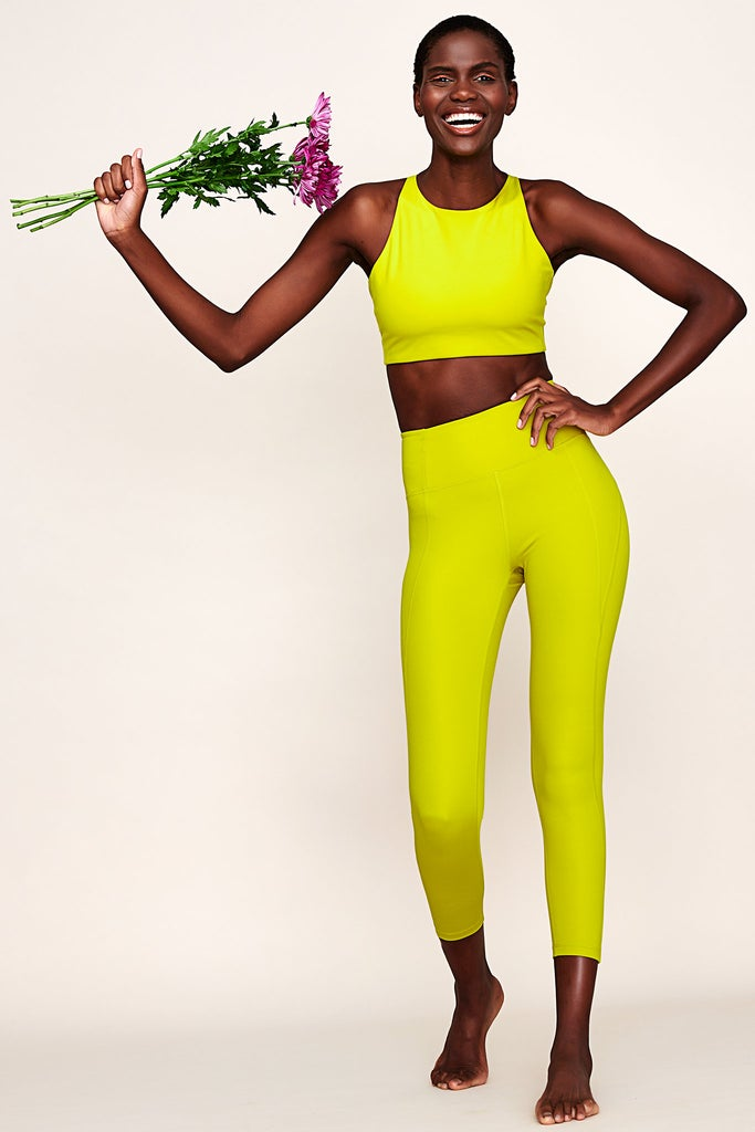 Compressive High Waisted 7/8 Legging - Chartreuse
