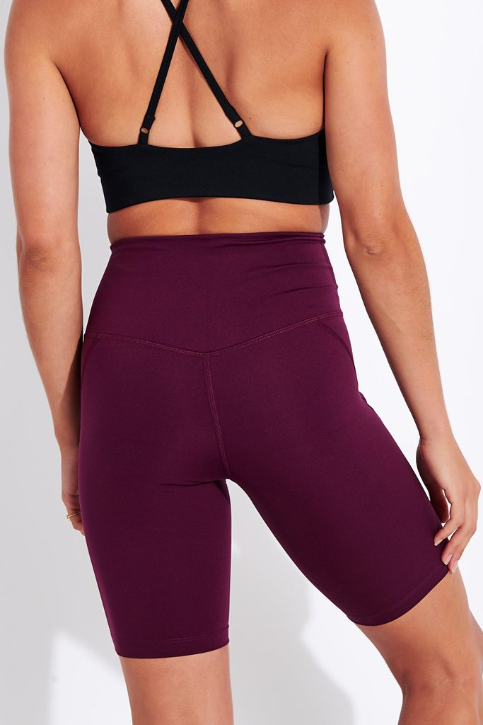 High Waisted Bike Short - Plum