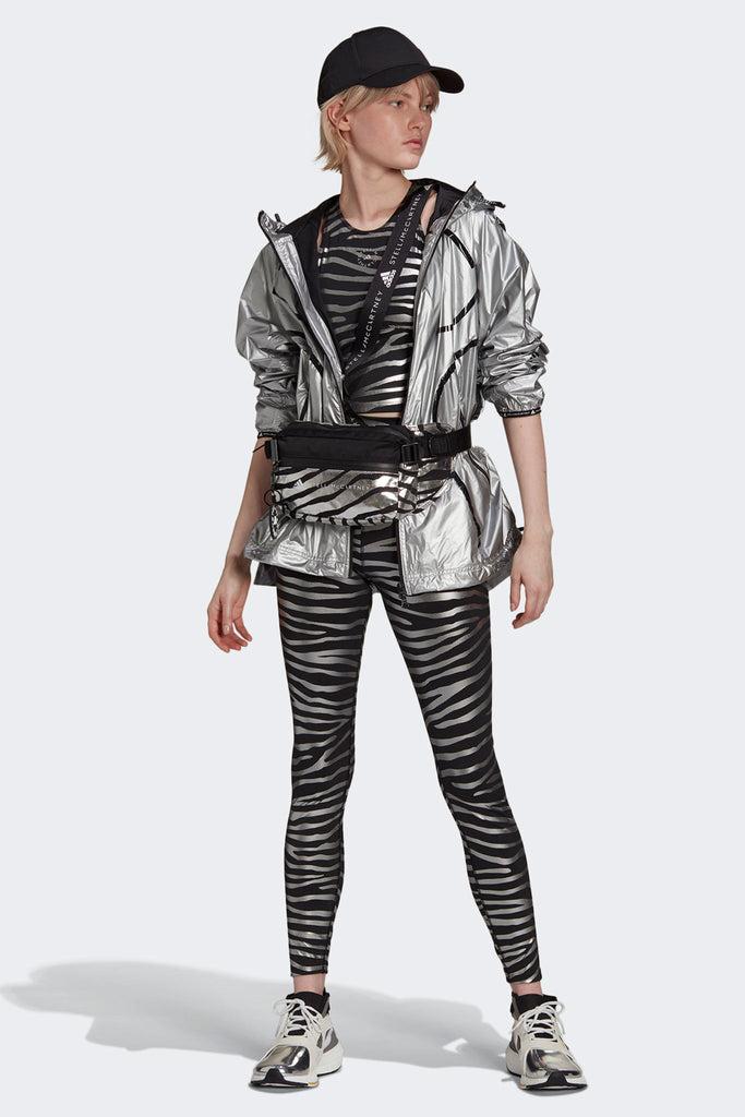 Training Metallic Print Tights - Black/Silver Metallic