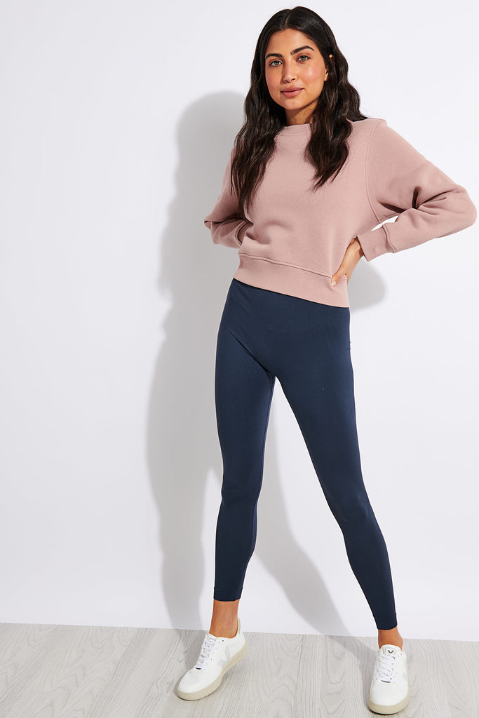 Organic Cotton Heavy Cropped Sweat - Dusty Rose
