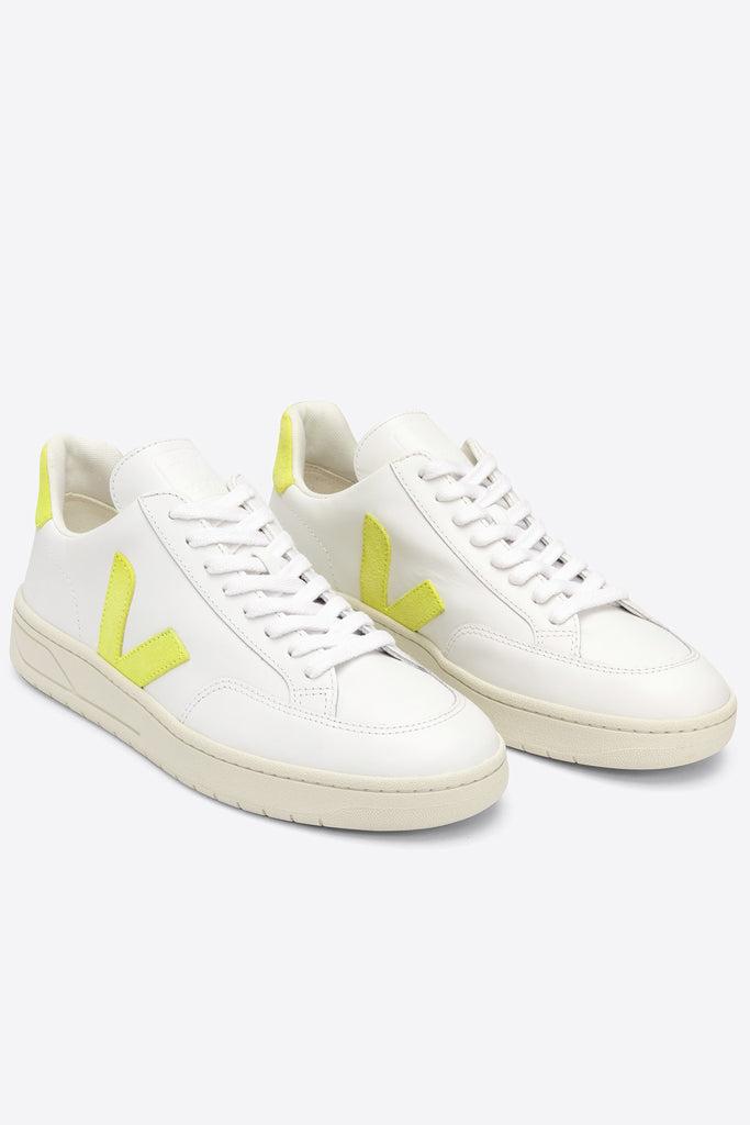 V-12 Leather - Extra-White Jaune-Fluo | Women's