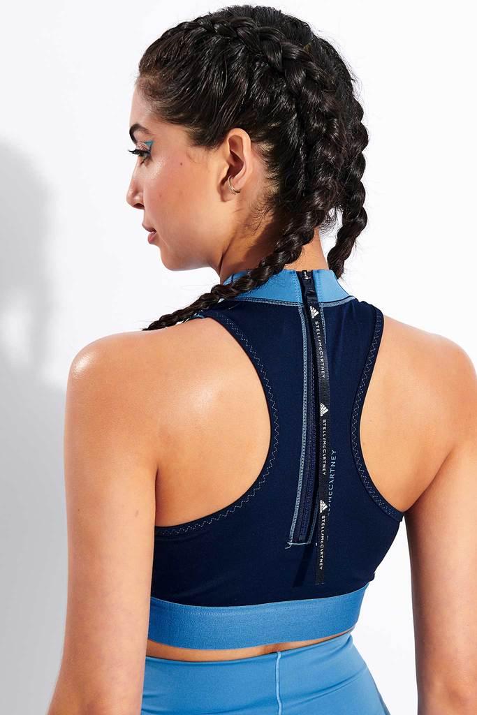 Adidas X Stella McCartney TruePace HEAT.RDY Primeblue Crop Top - Storm Blue/Collegiate Navy