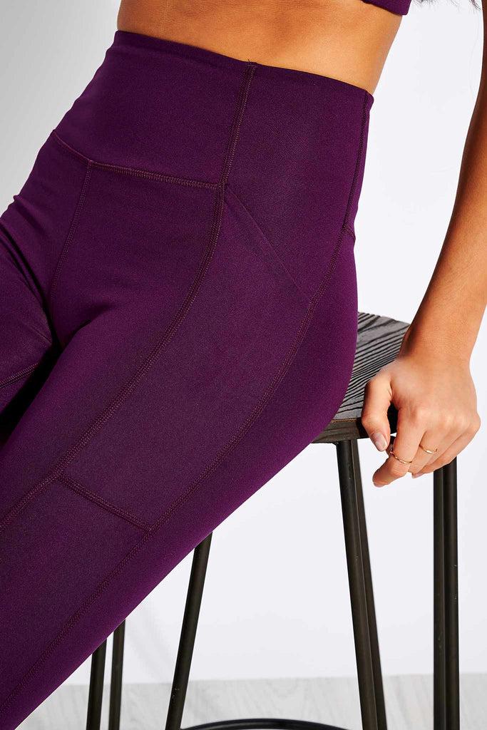 High Waisted Pocket Legging - Plum