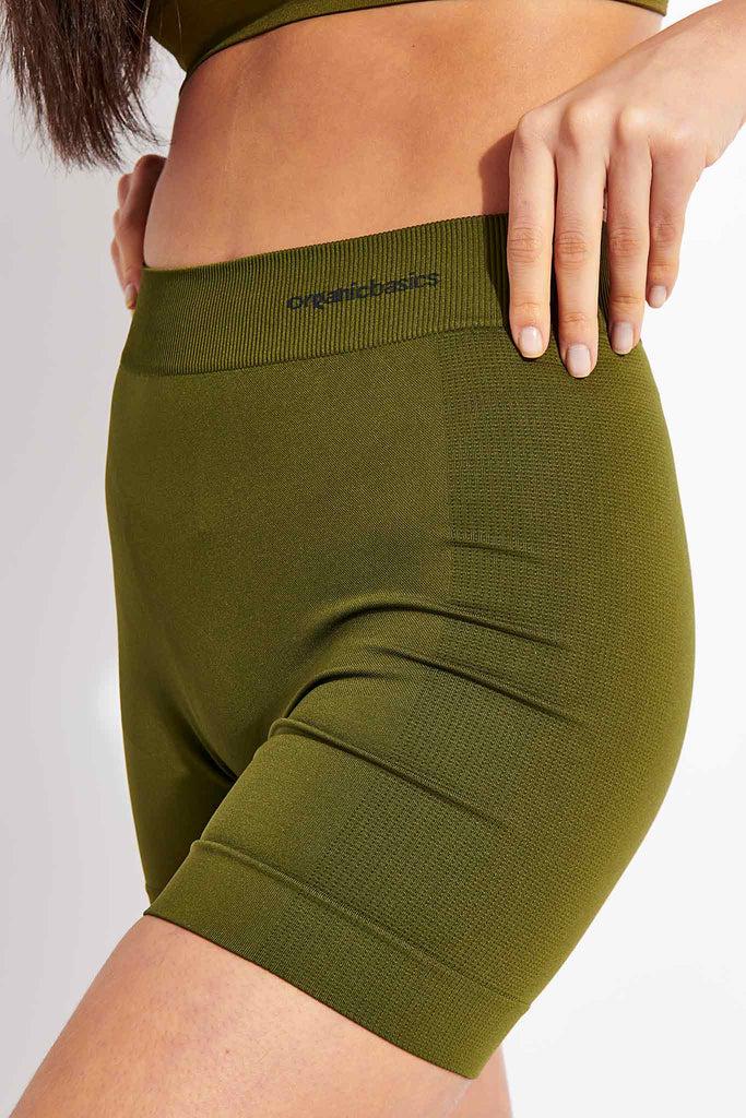 Organic Basics Active Yoga Shorts - Olive