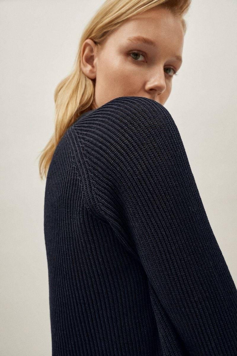 The Linen Cotton Crew-neck Sweater - Blue Navy