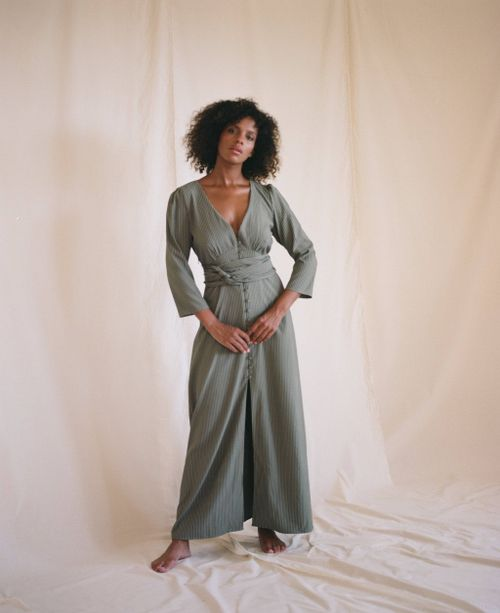 Kiera Dress In Sencha Stripe