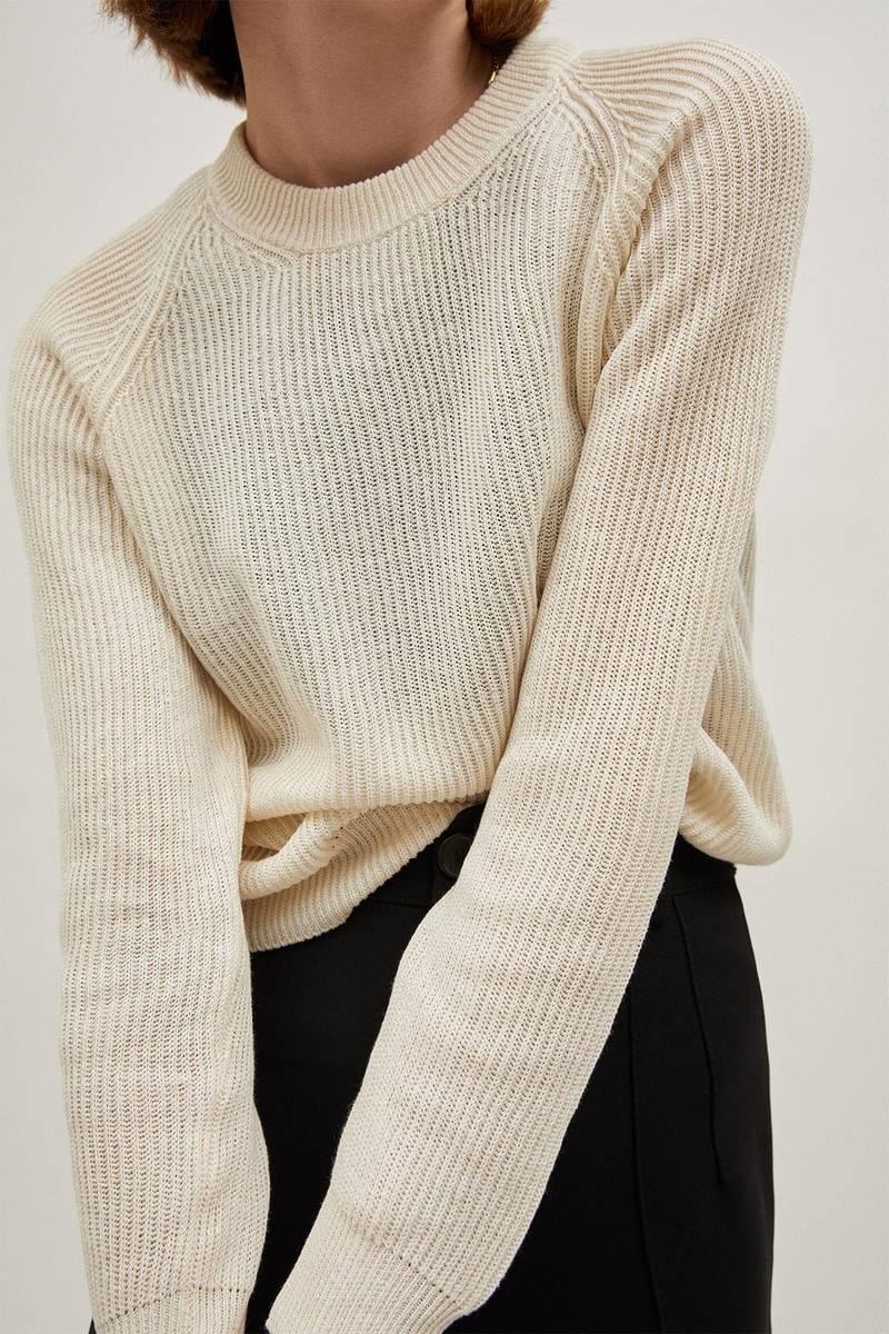 The Linen Cotton Crew-neck Sweater - Ivory