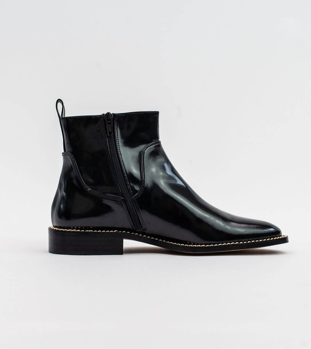 Juliet Black Vegan High Shine Chain Ankle Boot