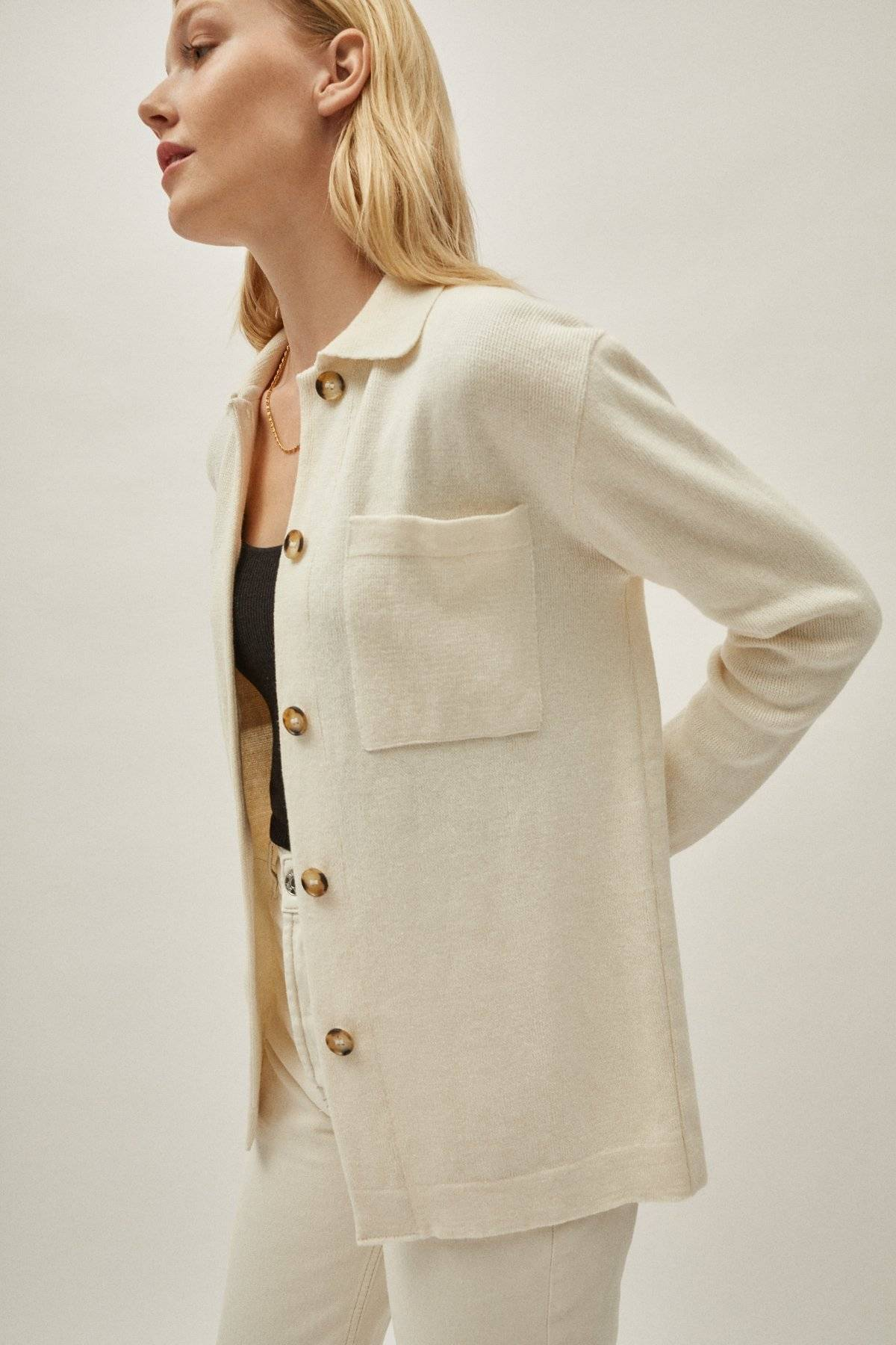 The Linen Cotton Overshirt - Ivory