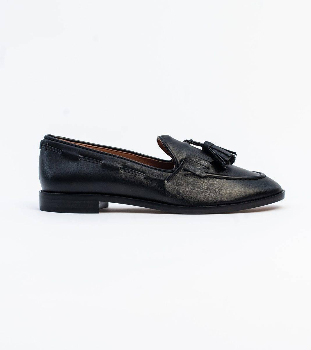 Alice Black Vegan Leather Tassel Loafer