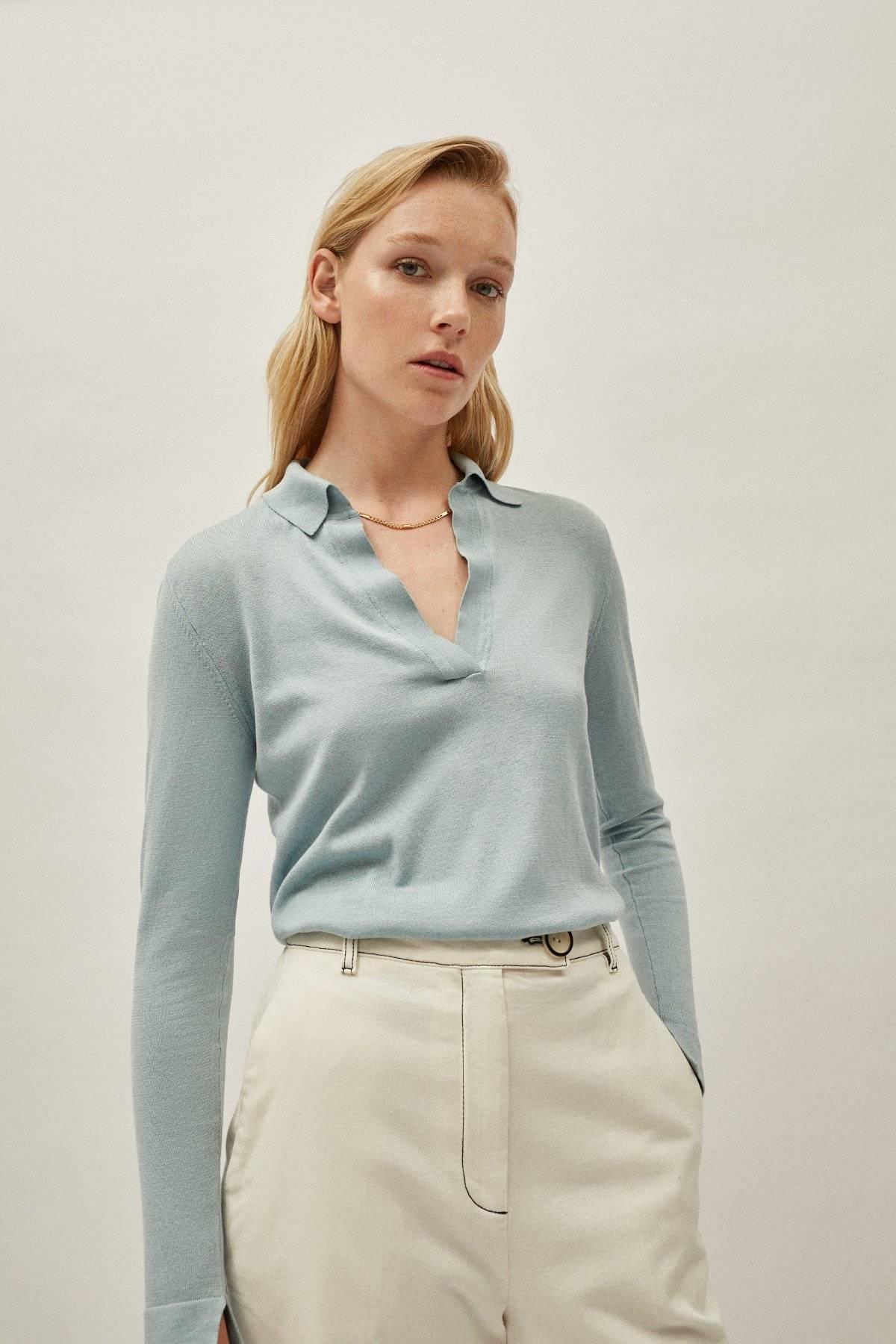 The Silk Cotton Polo - Light Blue