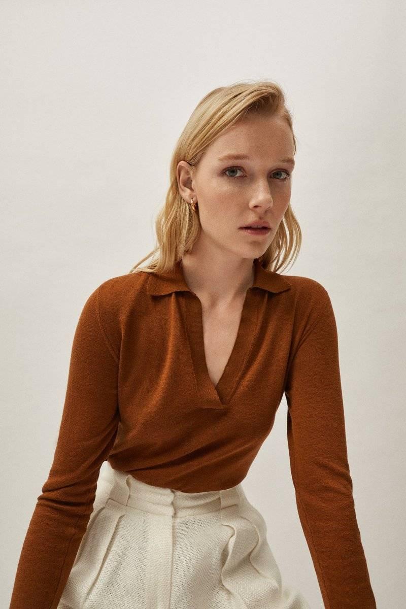 The Silk Cotton Polo - Brick Brown