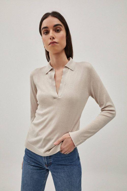 The Silk Cotton Polo - Pearl