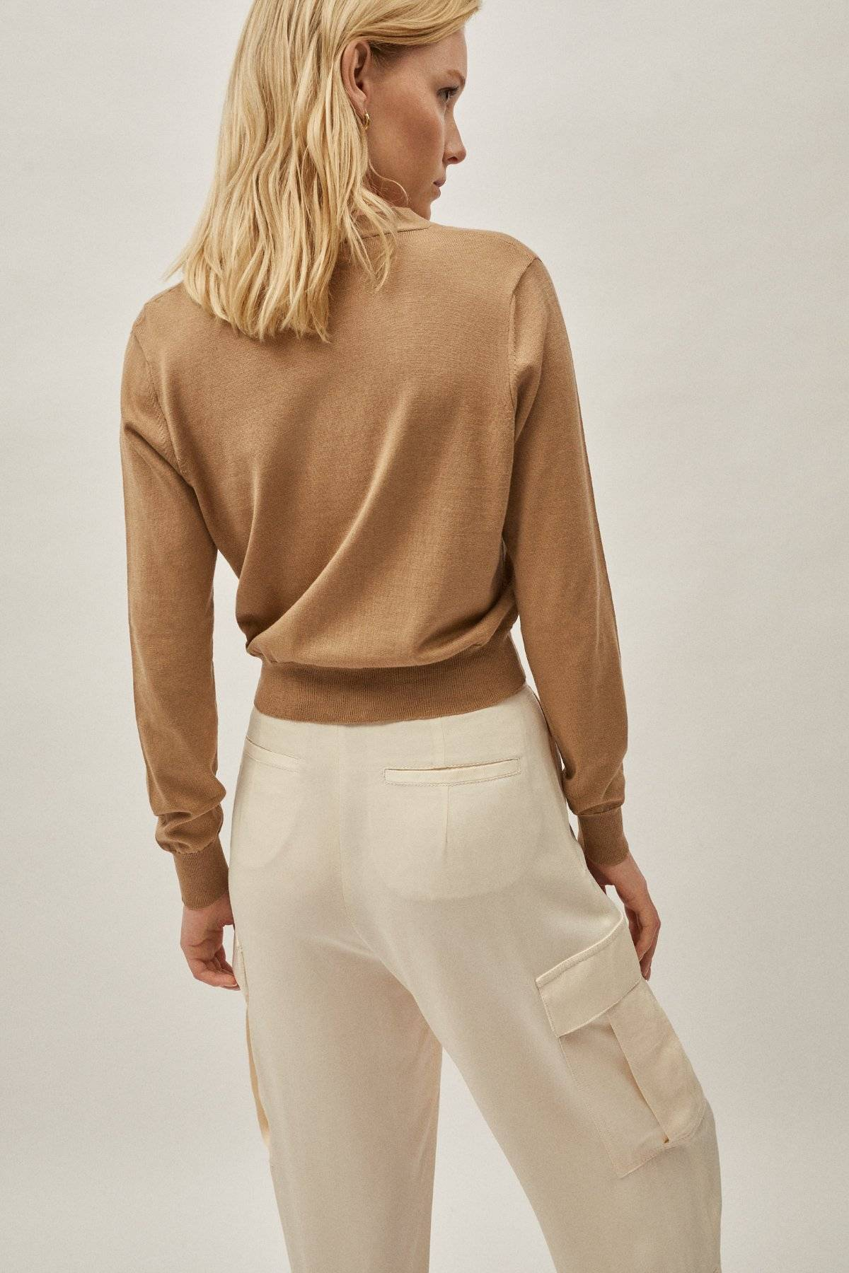 The Silk Cotton Crop Cardigan - Camel