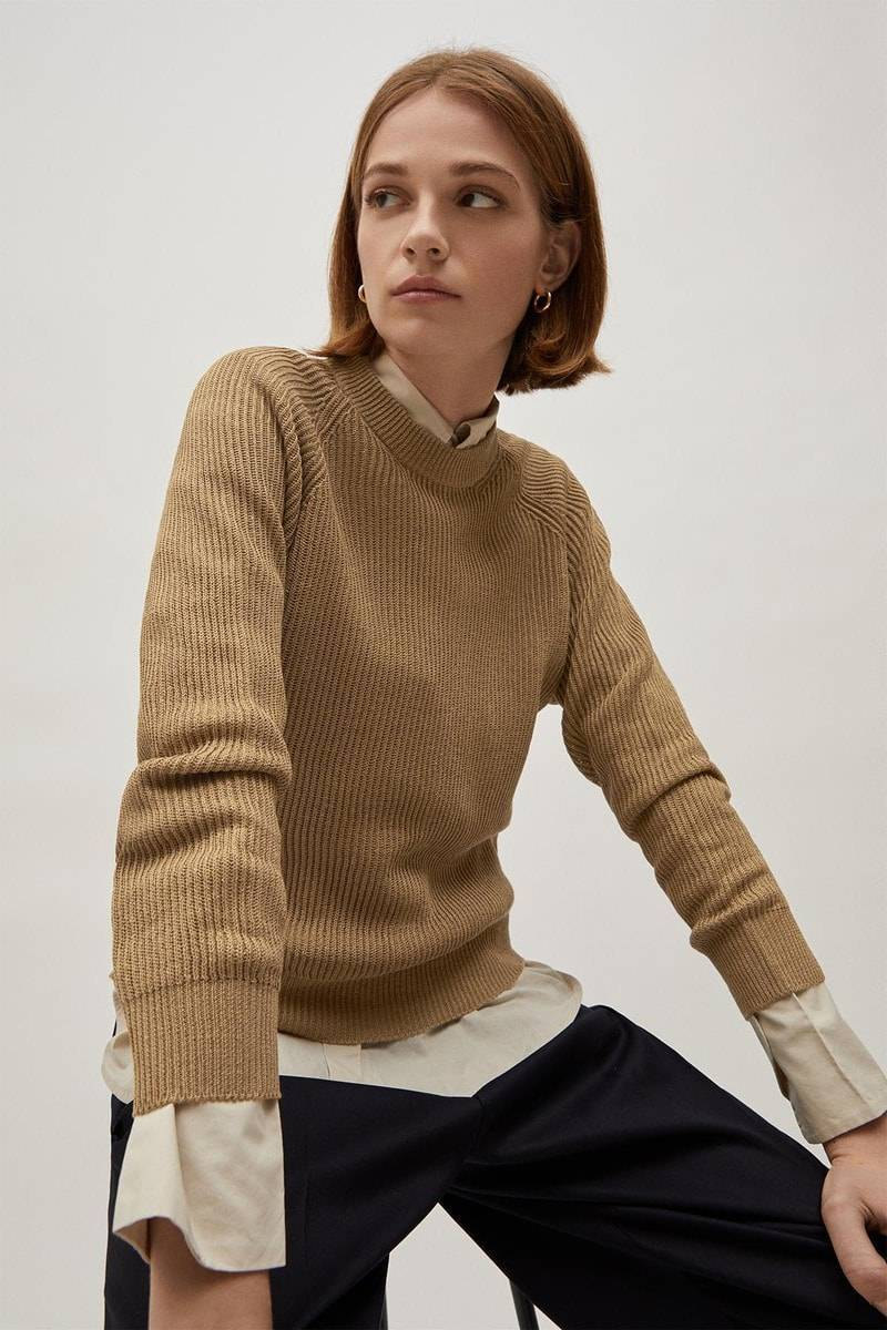The Linen Cotton Crew-neck Sweater - Camel