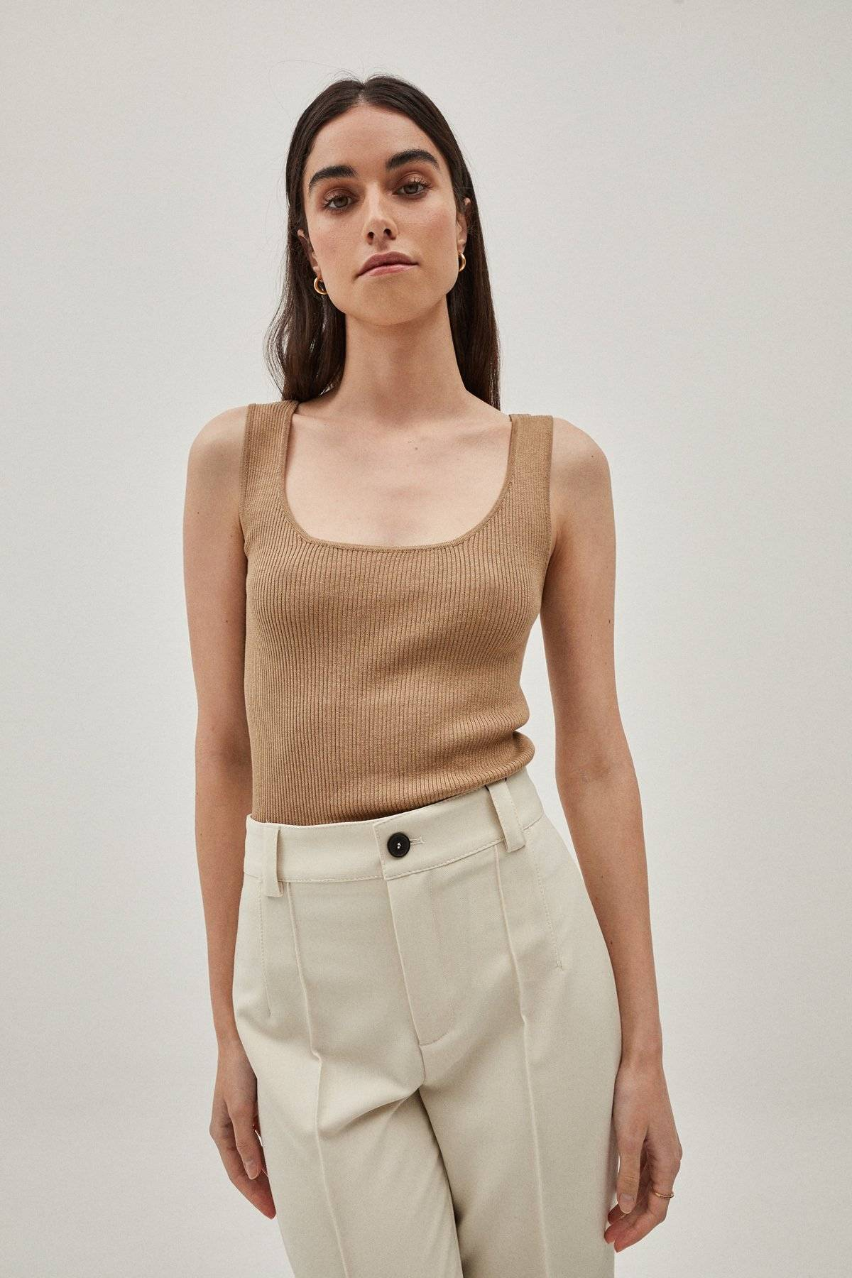 The Silk Cotton Tank Top - Camel