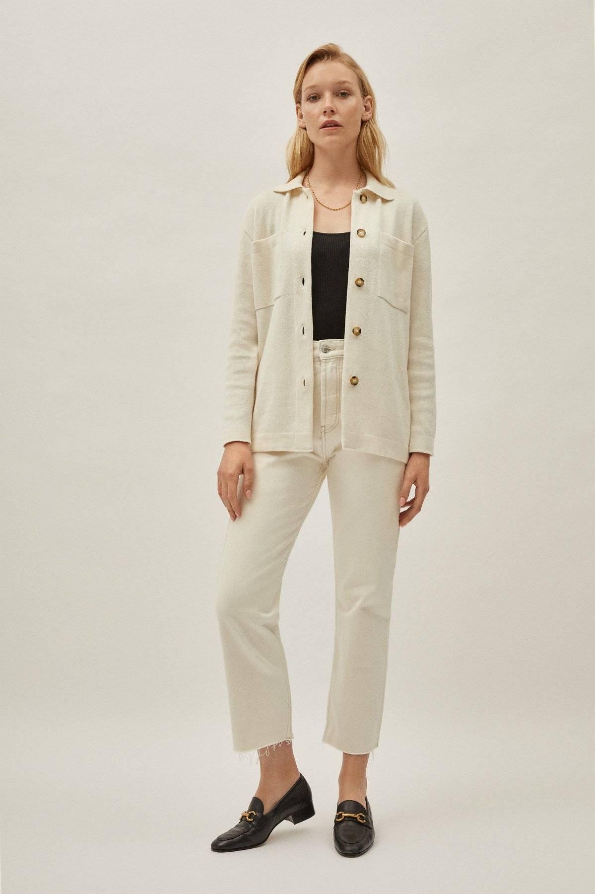 The Linen Cotton Overshirt - Ivory