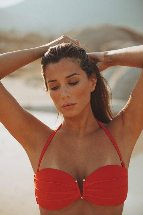 Amna Bandeau Bikini Top Red