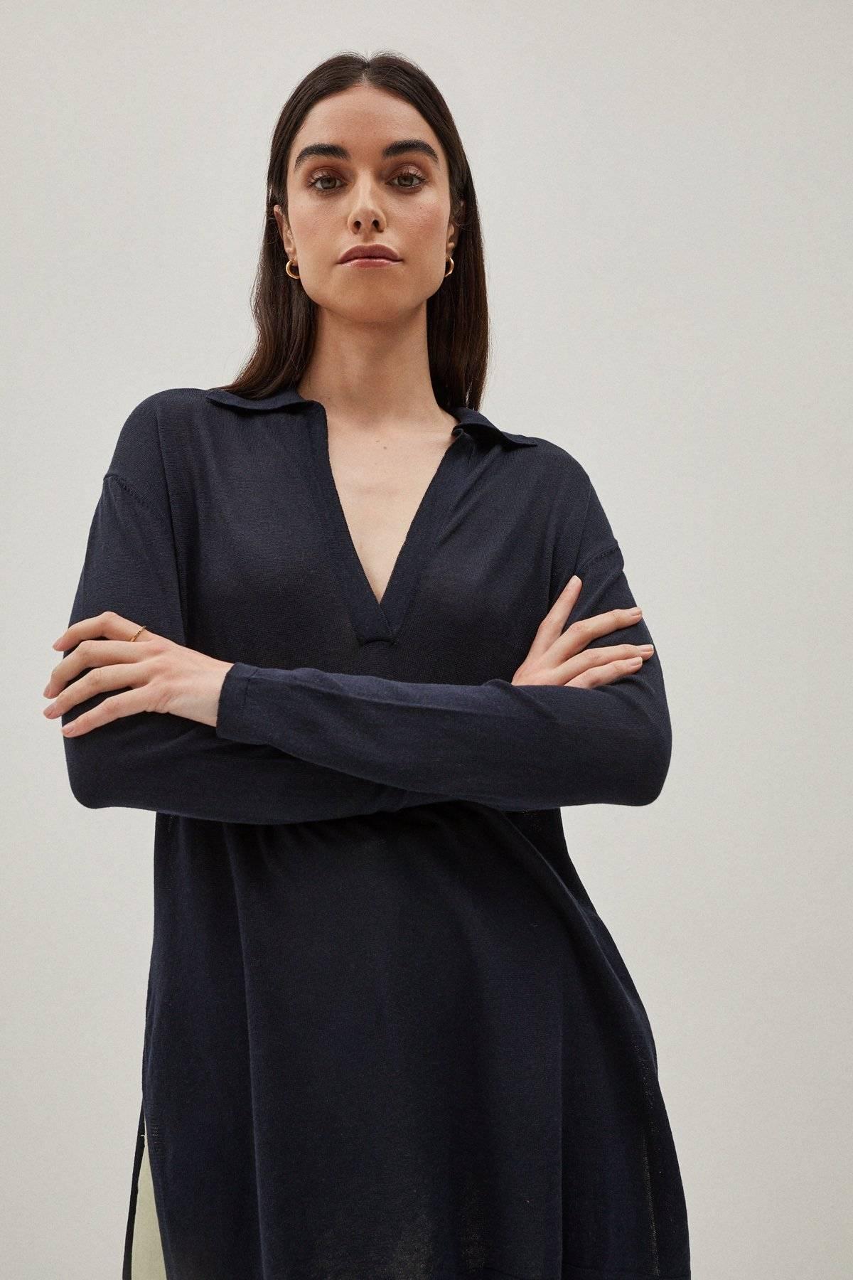 Artknit Studios The Silk Cotton Tunic - Blue Navy
