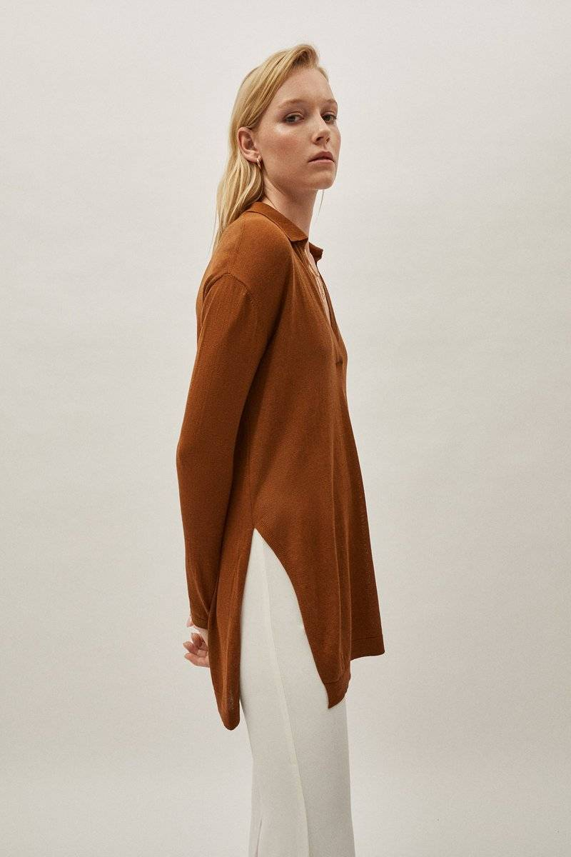 The Silk Cotton Tunic - Brick Brown