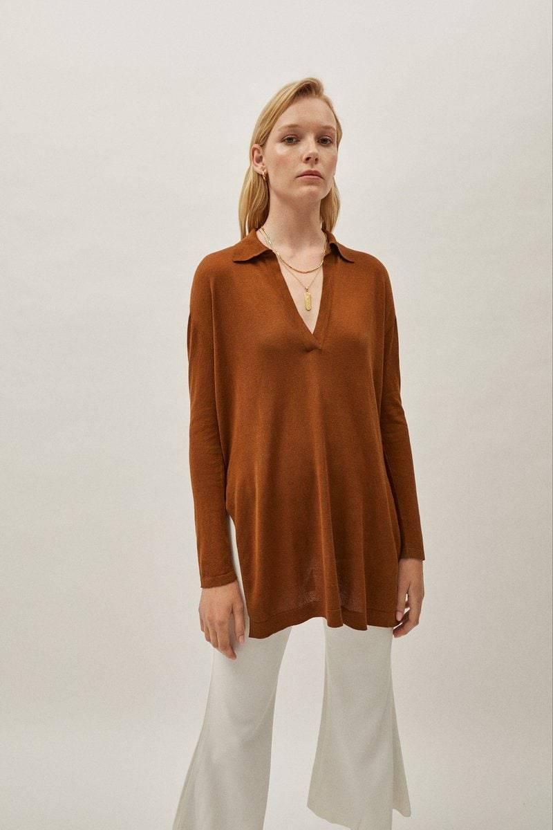 Artknit Studios The Silk Cotton Tunic - Brick Brown