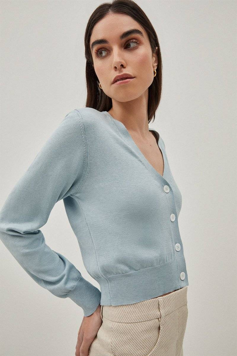 The Silk Cotton Crop Cardigan - Light Blue