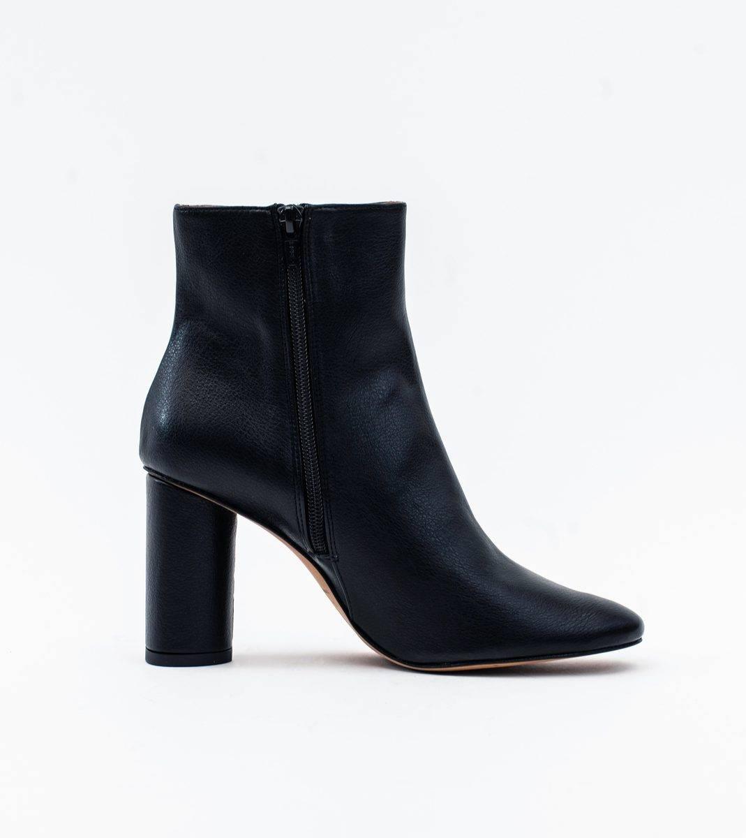 Isabella Black Vegan Grain Leather Heeled Ankle Boot