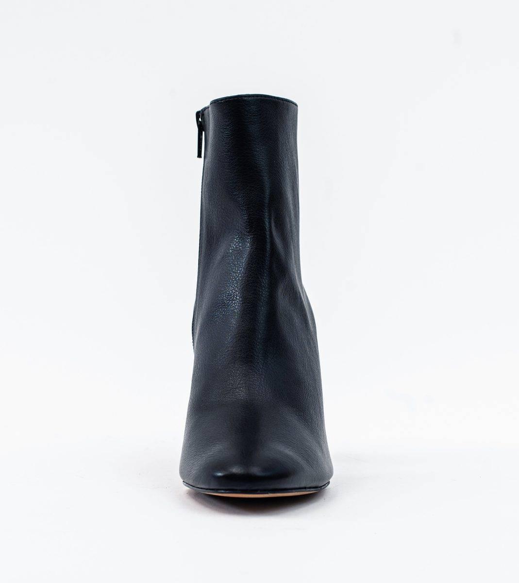 Allkind Isabella Black Vegan Grain Leather Heeled Ankle Boot