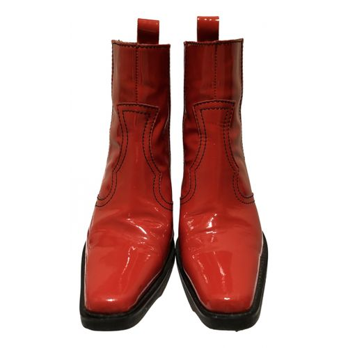 Ganni Patent leather ankle boots