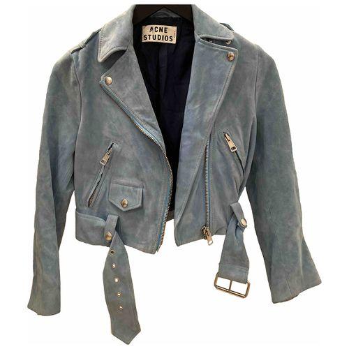 ACNE Acne Studios Turquoise Suede Jacket