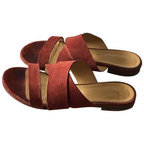Sézane Burgundy Suede Sandals