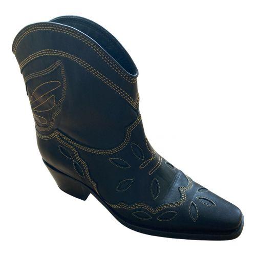 Ganni Leather western boots