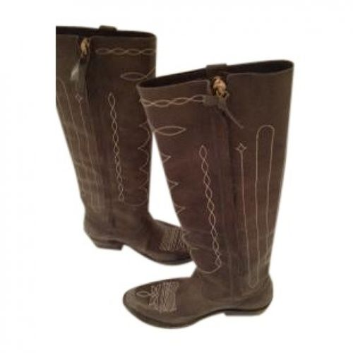 Golden Goose Khaki Leather Boots