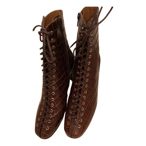 By Far Leather lace up boots
