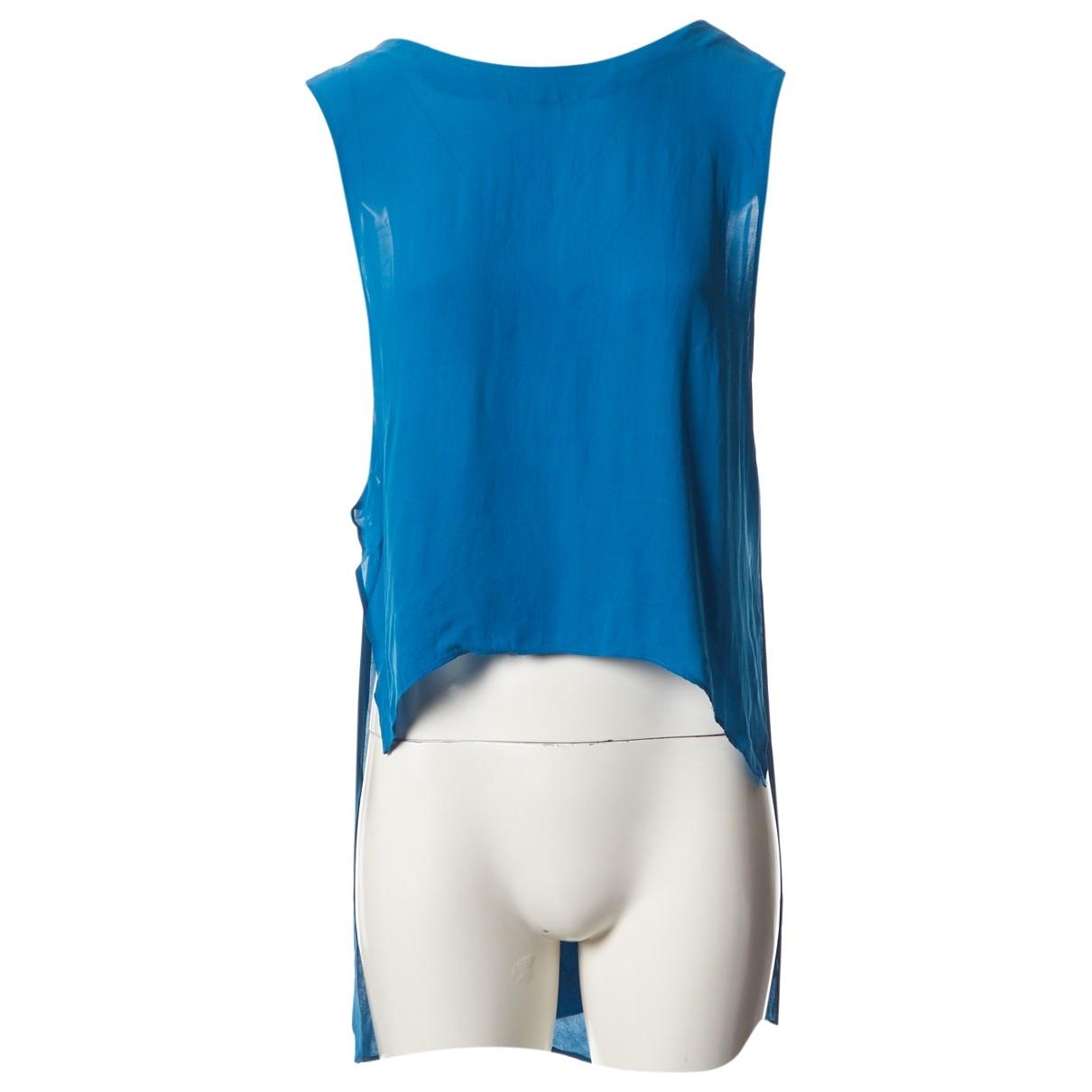 Reformation Blue Silk Top