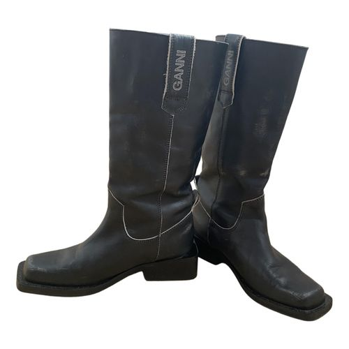 Ganni Fall Winter 2019 leather western boots