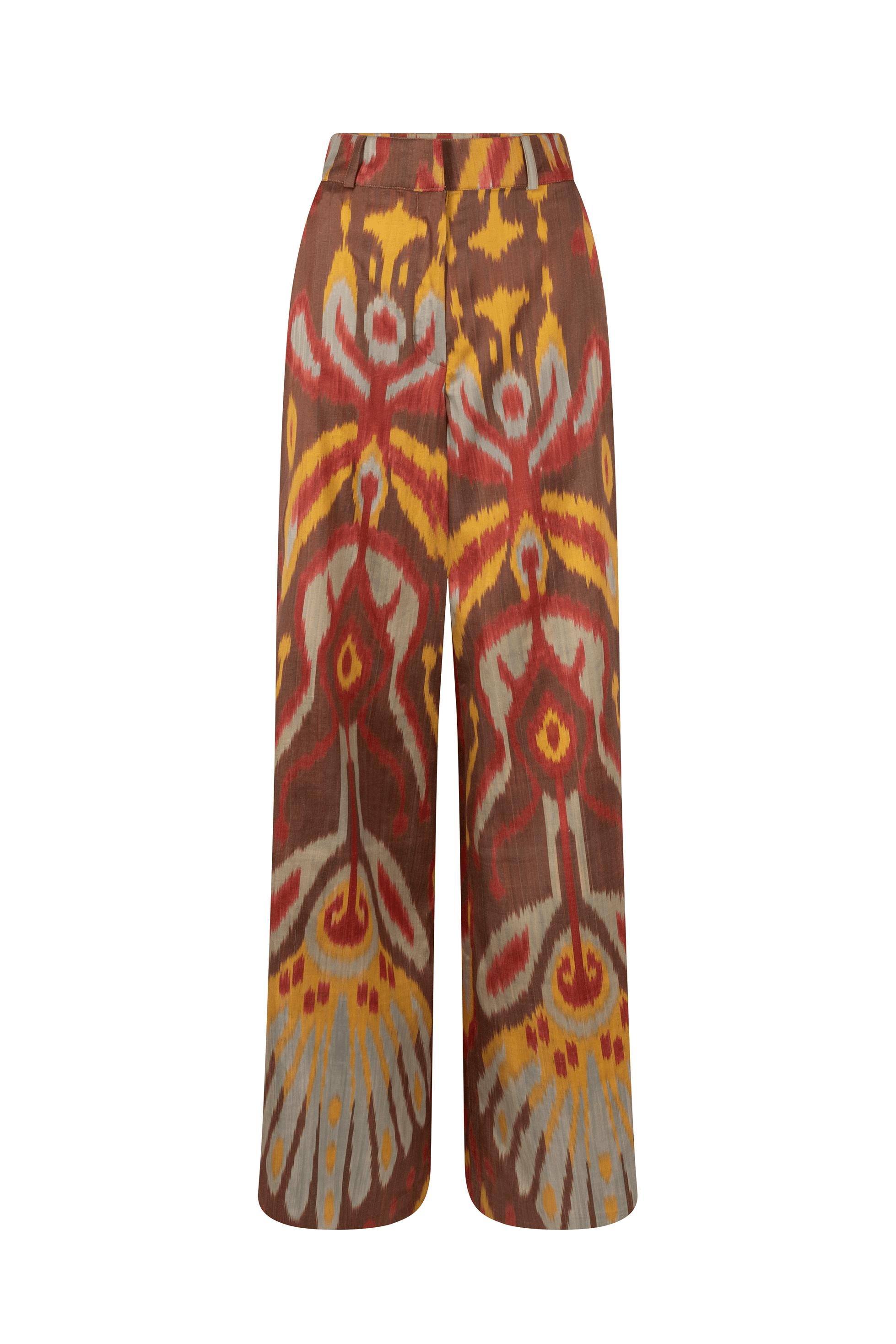 Naturally dyed ikat trousers - Medina